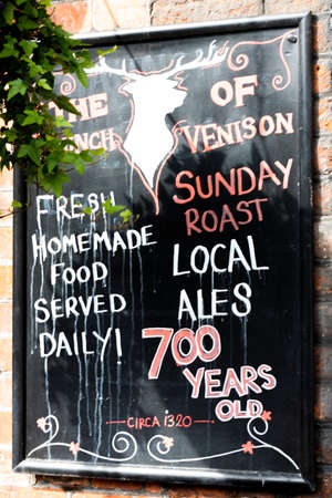 The Haunch of Venison restaurant advertising board, fresh local food cooked to order