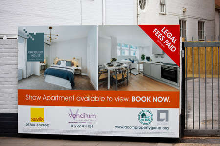 : Chequers House one and two bed apartments for sale estate agent advertising hoarding outside property