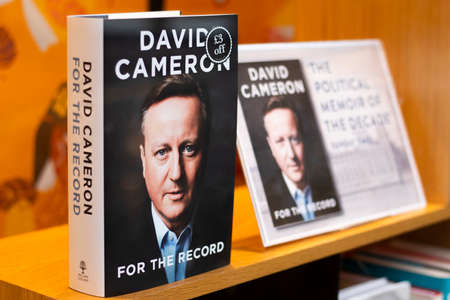 UK Prime Minister David Cameron memoir, for the record, who held the Brexit referendum in 216 Stock Photo - 132423565