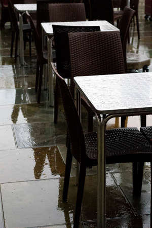 Deserted outdoor restaurant tables following the government closedown to fight the spread of the Coronavirus COVID 19 pandemic