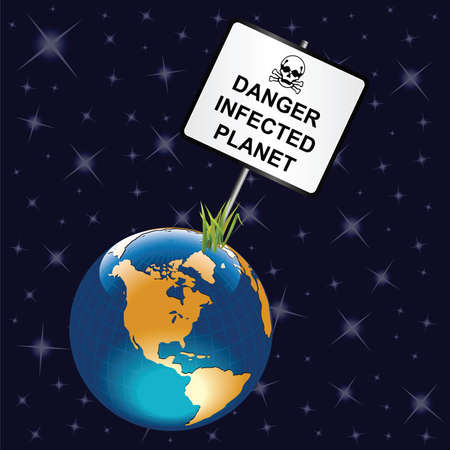 Danger infected planet earth sign relating to Coronavirus COVID 19 pandemic isolated on universe background Stok Fotoğraf