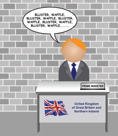 Representation of the Prime minister of the United Kingdom of Great Britain and Northern Ireland repeatedly talking nonsense