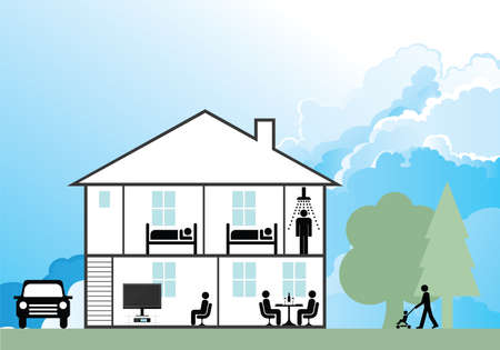 Cross section through a family home with cloudy blue sky
