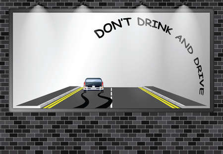 Illuminated advertising billboard with do not drink drive public information road safety awareness campaign with copy space for own text and graphics Banco de Imagens