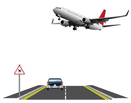 Low flying aircraft warning sign for road users with low flying passenger plane isolated on white background Banco de Imagens