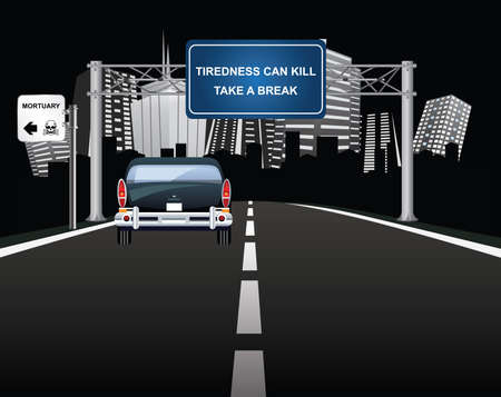 Tiredness can kill warning sign to motorist on overhead road gantry with vehicle entering generic city