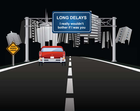 Comical roadworks ahead with long delays signs with vehicle entering generic city