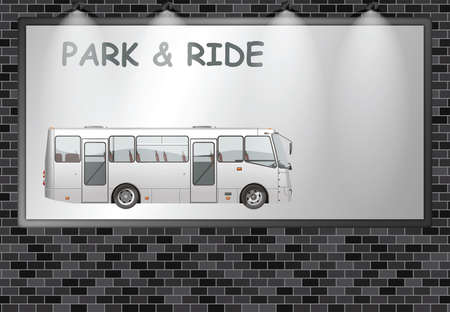 Illuminated advertising billboard with public park and ride to ease town congestion advertisement with copy space for own text and graphics