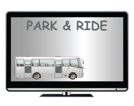 Television advertisement for park and ride to ease town congestion advertisement with copy space for own text and graphics