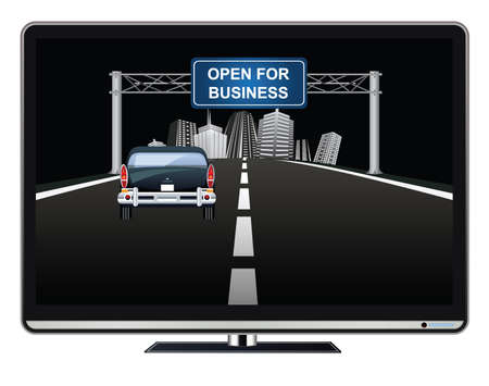 Television advertisement open for business on overhead road gantry following the worldwide pandemic  with vehicle driving towards generic city Banco de Imagens