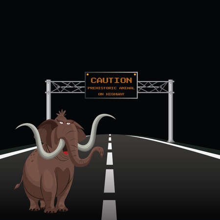 Comical overhead gantry sign warning prehistoric animal on highway with copy space for own text on black background