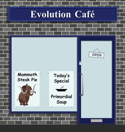 Evolution Cafe advertising todays special Primordial Soup and mammoth steak pie Banco de Imagens