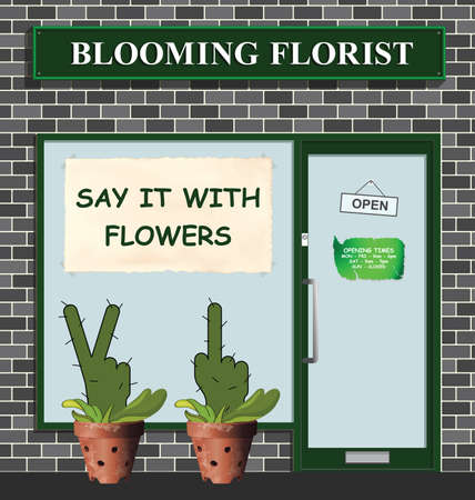 Say it with flowers poster in florist window with a rude range of plants to send to people you dislike
