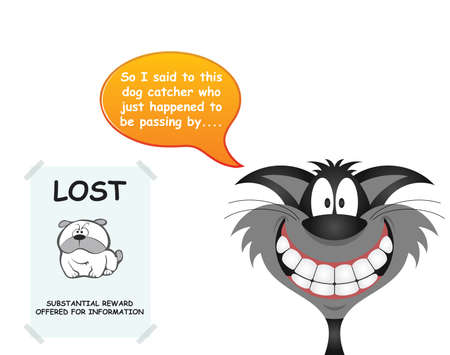 Comical cat responsible for getting rid of the dog using a passing dog catcher isolated on white background