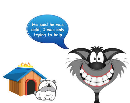Comical cat trying to keep the dog warm by setting his kennel ablaze isolated on white background