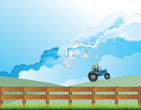 Picturesque rural scene with tractor working on a farm with seagulls flying close to the vehicle and cloudy blue sky above Banco de Imagens