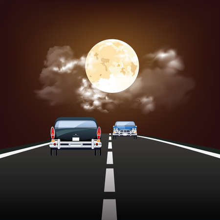 Stunning nigh time full moon over traffic travelling on highway Banco de Imagens