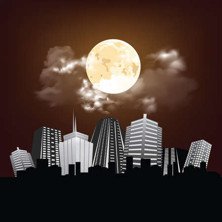 Stunning full moon and clouds over generic city skyline with copy space for own text Banco de Imagens