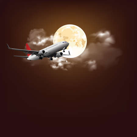 Stunning nigh time full moon nigh time cloudy sky with commercial passenger airplane flying across