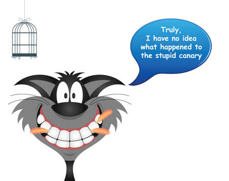 Comical cat proclaiming his innocence regarding the missing canary with feathers stuck between his teeth and empty birdcage isolated on white background