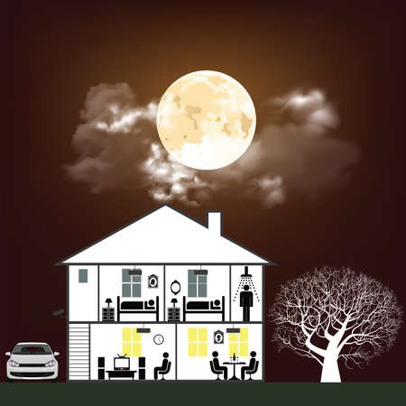 Cross section through a residential home at night time with a cloudy moonlit sky background Banco de Imagens