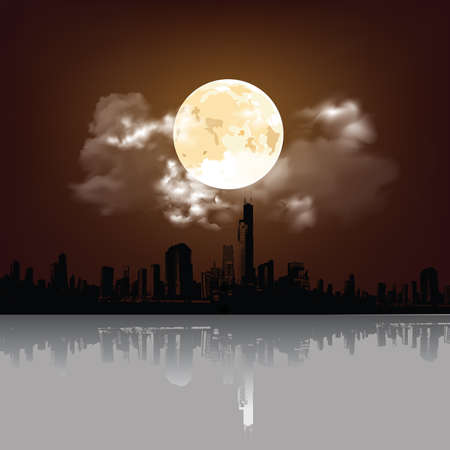 Stunning full moon and clouds over silhouetted generic city skyline with reflection Banco de Imagens