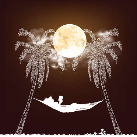 Stunning full moon nigh time cloudy sky with white Silhouetted woman reading relaxing in a hammock