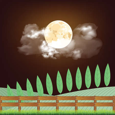 Picturesque rural night time country scene with farmland and boundary fence set against a full moon