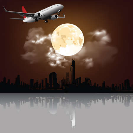 Stunning full moon and clouds over silhouetted generic city skyline with passenger plane