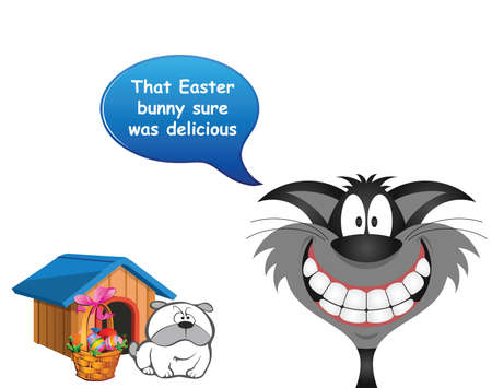 Comical cat announcing that he has devoured the Easter bunny with sad dog looking on isolated on white background Banco de Imagens