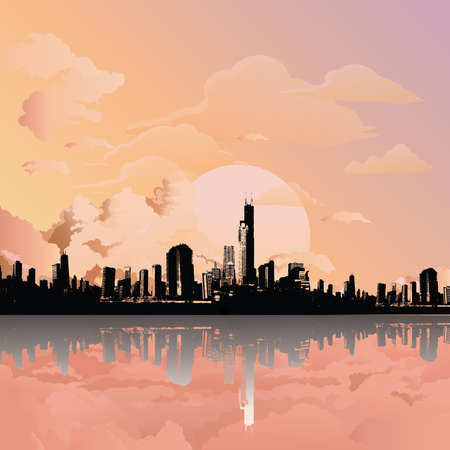 Stunning sunrise or dawn over silhouetted generic city skyline reflected in foreground