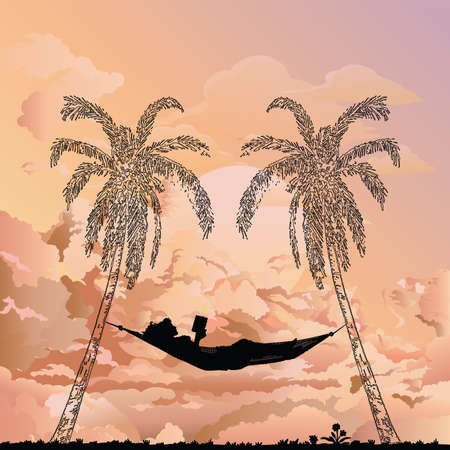 Stunning sunrise or dawn with silhouetted woman reading in a hammock between two palm trees Banco de Imagens