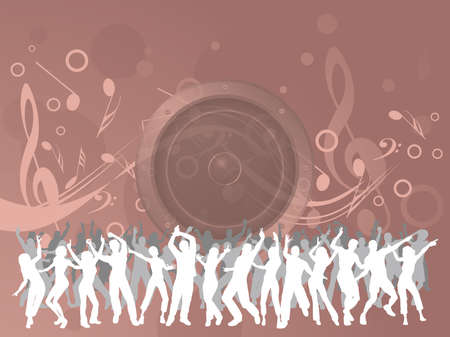 People dancing at an event on pink musical background with copy space for own text