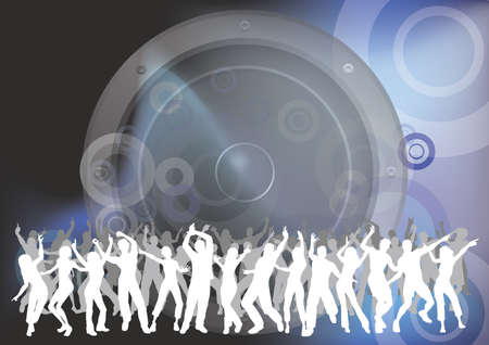 People dancing at an event with abstract sound speaker background