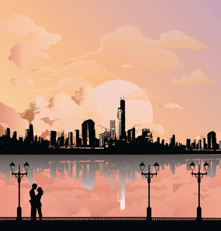 Silhouetted young lovers on a promenade set against a stunning dawn or dusk sky and generic Cityscape background Banco de Imagens