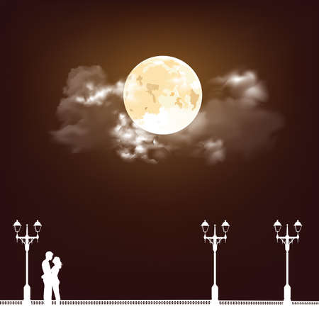 Silhouetted young lovers on a promenade set against a stunning full moon and cloudy sky