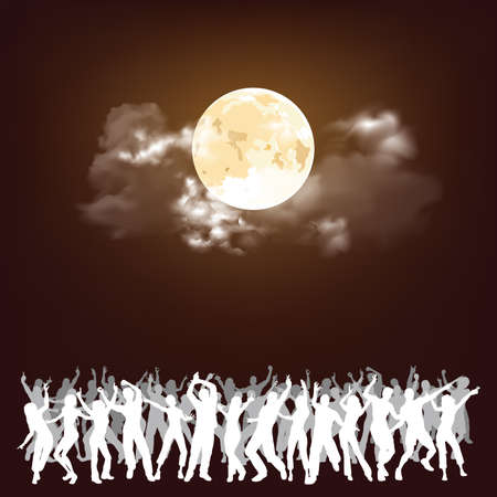 People partying at an event under a stunning full moon with copy space for own text