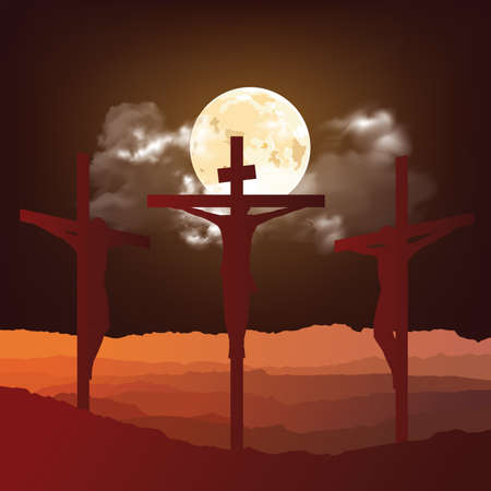 Silhouetted depiction of the crucifixion of Christ and two thieves collectively referred to as the Passion set against a full moon background