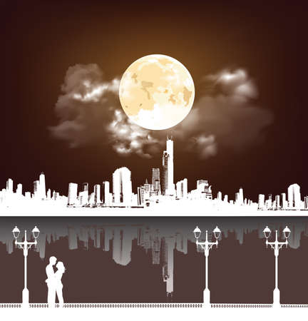 Silhouetted young lovers on a promenade set against a stunning full moon sky and generic Cityscape background