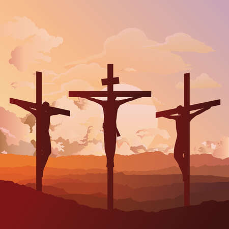 Silhouetted depiction of the crucifixion of Christ and two thieves collectively referred to as the Passion set against a dawn sky background