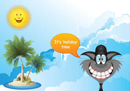 Comical cat with it is holiday time summer message set against a cloudy blue sky