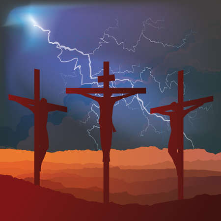 Silhouetted depiction of the crucifixion of Christ and two thieves collectively referred to as the Passion set against a retribution lightning sky background