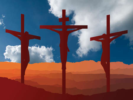 Silhouetted depiction of the crucifixion of Christ and two thieves collectively referred to as the Passion set against a blue cloudy sky background