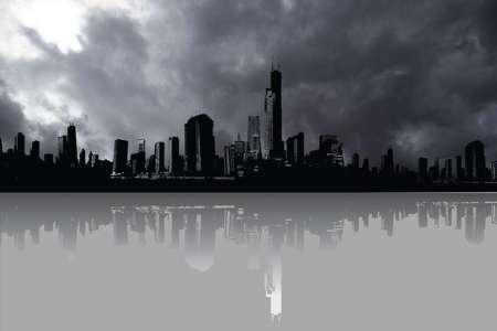 Generic city skyline with reflection in foreground and dramatic storm clouds above Banco de Imagens