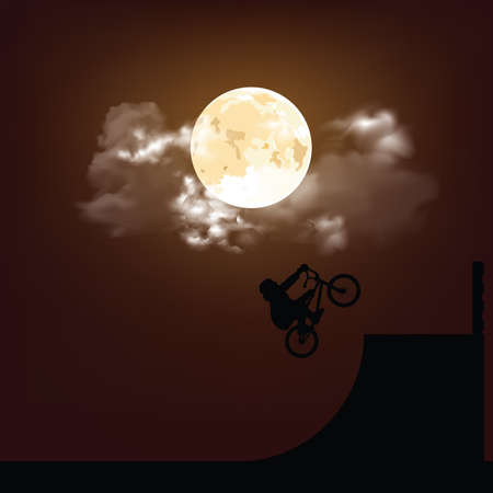 Silhouetted BMX rider performing stunts set against a stunning full moon sky background