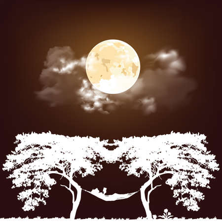 Stunning full moon nigh time cloudy sky with white Silhouetted woman reading relaxing in a hammock between two trees