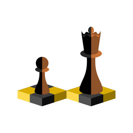 Isometric illustration. Chess pieces The pawn and the queen. Vector illustration