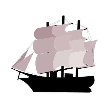 Three-man sailboat. Vector illustration Illustration