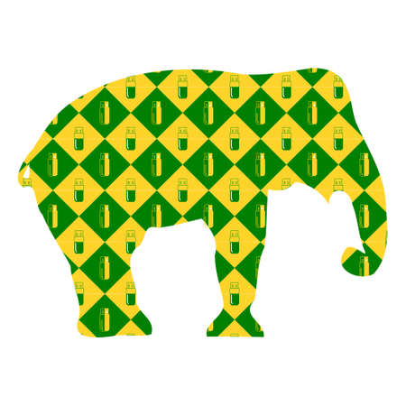 Elephant. Silhouette on the background of yellow and green diamonds with flash memory. Vector illustration