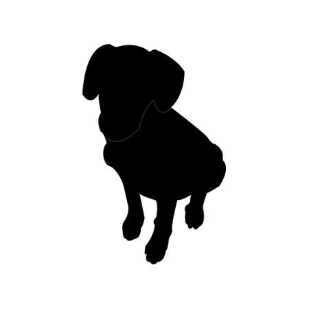 Dog silhouette is isolated on a transparent background vector illustration.